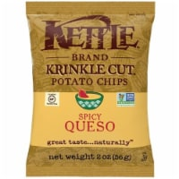 Kettle Foods Spicy Queso Krinkle Cut Potato Chips, 2 Ounce -- 6 per case. - 6-2 OUNCE
