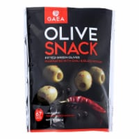 Gaea Olives - Green - Pitted - with Chili and Black Pepper - Snack Pack - 2.3 oz - case of 8