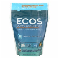 Earth Friendly Laundry Detergent Packs-Ultra Liq Ecos-20 pods-Free and Clear-17.98 oz-6Case - Case of 6 - 17.98 OZ each
