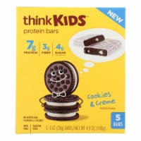 Think Kids Cookies & Creme Protein Bars - Case of 6 - 5/1 OZ - Case of 6 - 5/1 OZ each