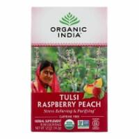 Organic India Tulsi Tea Raspberry Peach - 18 Tea Bags - Case of 6