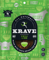 Krave Beef Jerky - Chili Lime - Case of 8 - 2.7 oz - 1-8 COUNT