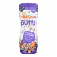Happy Baby Happy Bites Puffs - Organic HappyPuffs Purple Carrot, Blueberry-2.1oz-Case of 6 - Case of 6 - 2.1 OZ each