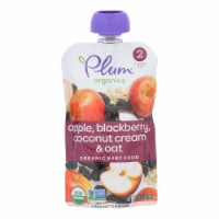 Plum Organics Plum Stage2 Blends Baby Food Apple Blackberry Coconut - Case of 6 - 3.5 OZ - 6