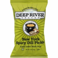 Deep River Snacks New York Spicy Dill Pickle kettle Cooked Potato Chips, 5oz (Pack of 12) - 12