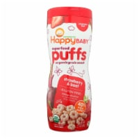 Happy Bites Organic Puffs Finger Food for Babies - Strawberry Puffs - Case of 6 - 2.1 oz - Case of 6 - 2.1 OZ each