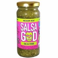 Salsa God Medium Heat Salsa Verde Resturant Style Salsa, 16 oz (Pack of 6)