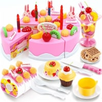 Birthday Cake Play Food Set Pink 75 Pieces Plastic Kitchen Cutting Toy Pretend Play - 1