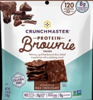 CrunchMaster Protein Brownie Thins Homestyle Milk Chocolate Gluten Free 3.54 OZ (Pack of 12 ) - 12