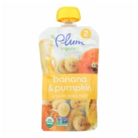 Plum Organics Baby Food-Pumpkin and Banana - Stage 2 - 6 Months and Up - 3.5 .oz - Case of 6 - Case of 6 - 4 OZ each
