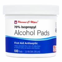 """Pharma-C 70% Isopropyl Alcohol Pads (alcohol wipes). 12 Jars of 100 3"""" Pads. - Case of 12 - 100ct Jars"""