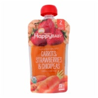 Happy Baby Organic Stage 2 Baby Food - Carrots Strawberries & Chickpeas - Case of 16 - 4 oz - 16