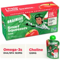 Brainiac Omega-3 Smart Squeezer Applesauce, No Added Sugar, Vitamin C, Apple, 10 Count - 10-Pack