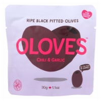 Oloves Black Pitted Olives - Chili and Garlic - Case of 10 - 1.1 oz. - Case of 10 - 1.1 OZ each