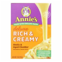 Annies Macaroni Dinner - Creamy Deluxe - Shells Real Aged Cheddar Sauce - 11 oz - case of 12 - Case of 12 - 11 OZ each