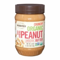 Woodstock Organic Unsalted Crunchy Easy Spread Peanut Butter - Case of 12 - 18 OZ - Case of 12 - 18 OZ each