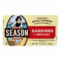 Season Brand Sardines in Tomato Sauce  - Salt Added - Case of 12 - 4.375 oz. - Case of 12-4.375 OZ each