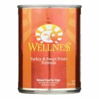 Wellness Pet Products Dog Food - Turkey and Sweet Potato Recipe - Case of 12 - 12.5 oz.