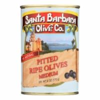Santa Barbara California Ripe Olives - Medium Pitted - Case of 12 - 6 oz.