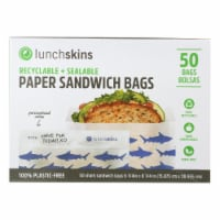 Lunchskins - Recyclable and Sealable Paper Sandwich Bags - Shark - Case of 12 - 50 Count - Case of 12 - 50 CT each