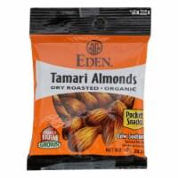 Eden Foods Organic Pocket Snacks - Tamari Almonds - Dry Roasted - 1 oz - Case of 12 - 1 OZ