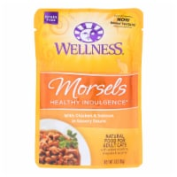 Wellness Cat Food-Morsels with Chicken and Salmon In Savory Sauce-Case of 24-3oz