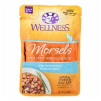 Wellness Pet Products Cat Food-Morsels with Turkey and Duck In Savory Sauce-Case of 24-3oz - Case of 24 - 3 OZ each
