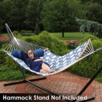 Sunnydaze Quilted 2-Person Hammock - Curved Spreader Bars - Navy & Gray Octagon