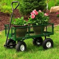 Sunnydaze Steel Utility Cart w/ Removable Folding Sides Green - 400-lb Capacity - 1 utility cart