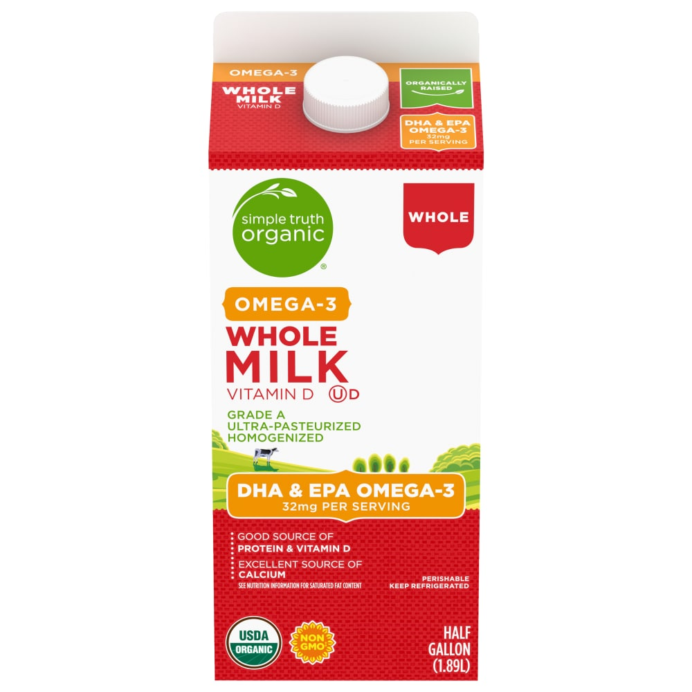 Kroger Simple Truth Organic Whole Milk With Dha Omega 3 1 2 Gal