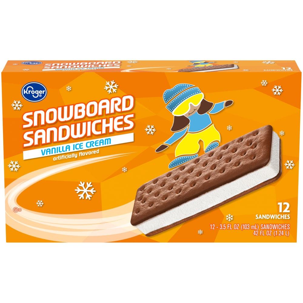 kroger snowboard ice cream sandwiches vanilla perspective front