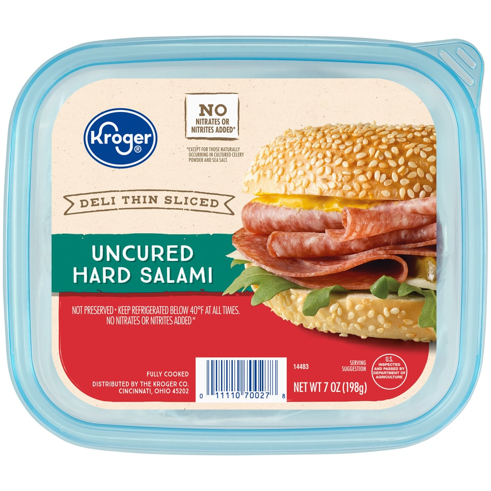Kroger Deli Thin Sliced Uncured Hard Salami 7 Oz Kroger He was very nice, polite and helpful lost my desire kroger employee not talking with the customer.employee did not answer my question,chairs and tables are not cleaned. kroger deli thin sliced uncured hard salami 7 oz