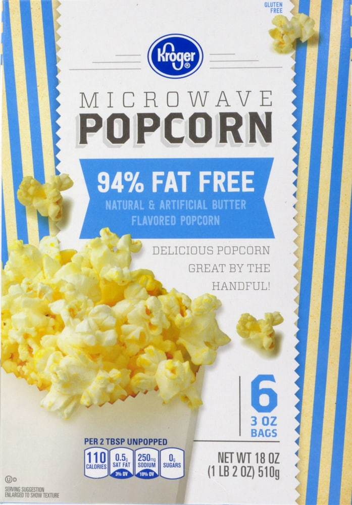 Kroger Microwave Popcorn 94 Fat Free Perspective Front