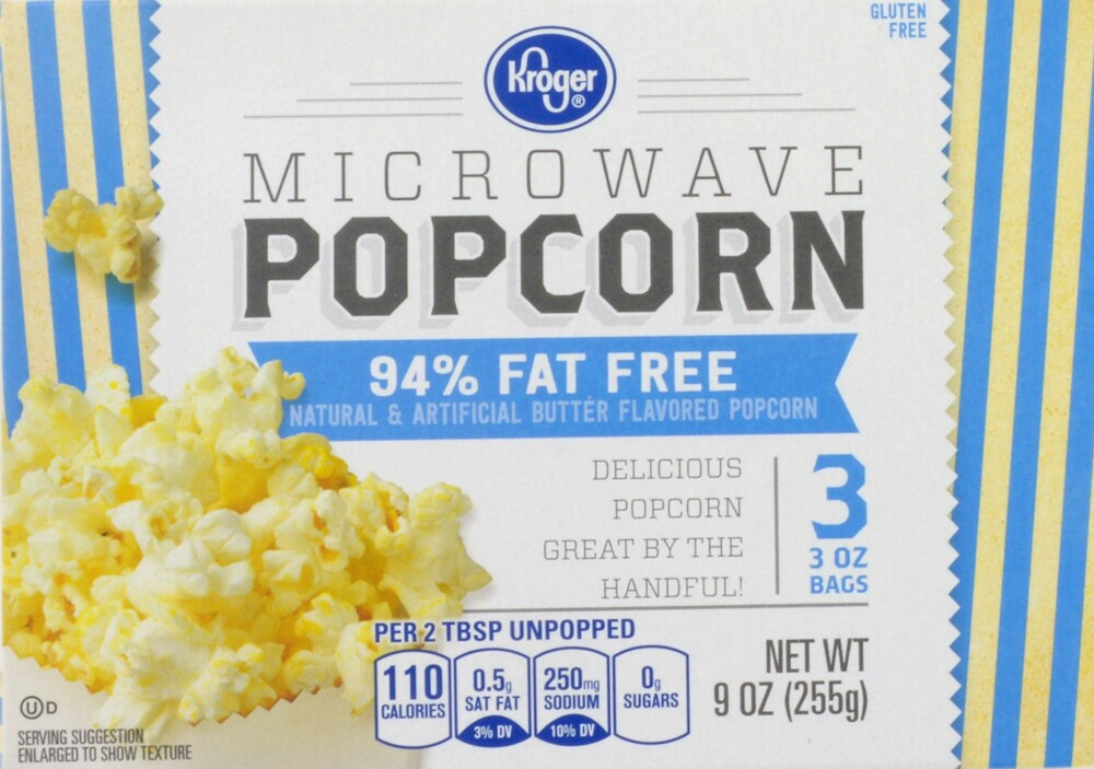 Kroger 94 Fat Free Microwave Popcorn Perspective Front