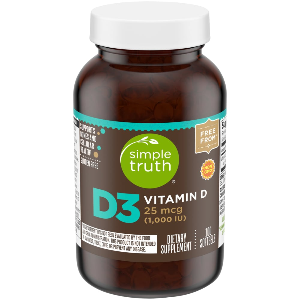 Fry S Food Stores Simple Truth Vitamin D3 Softgels 1000 Iu 100 Count 100 Ct