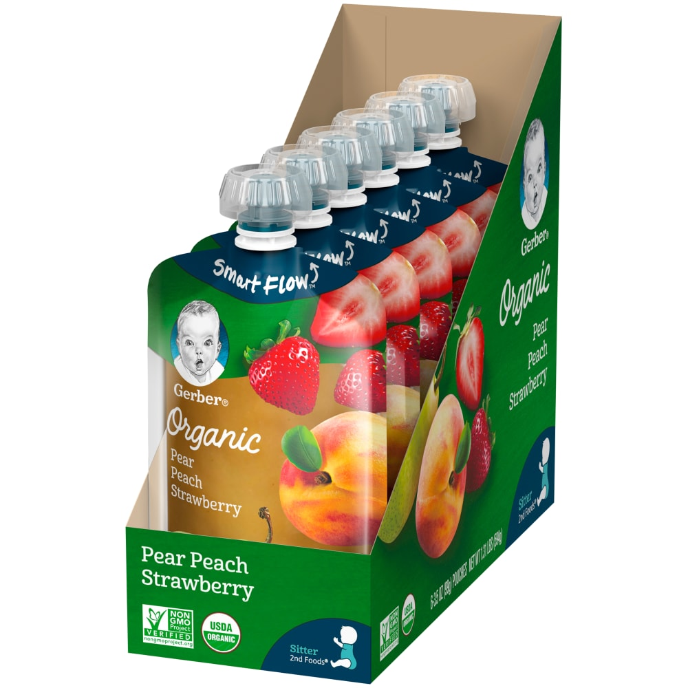 Jay C Food Stores Gerber Organic 2nd Foods Fruit Pears Peaches Strawberries Baby Food 6 Ct 3 5 Oz