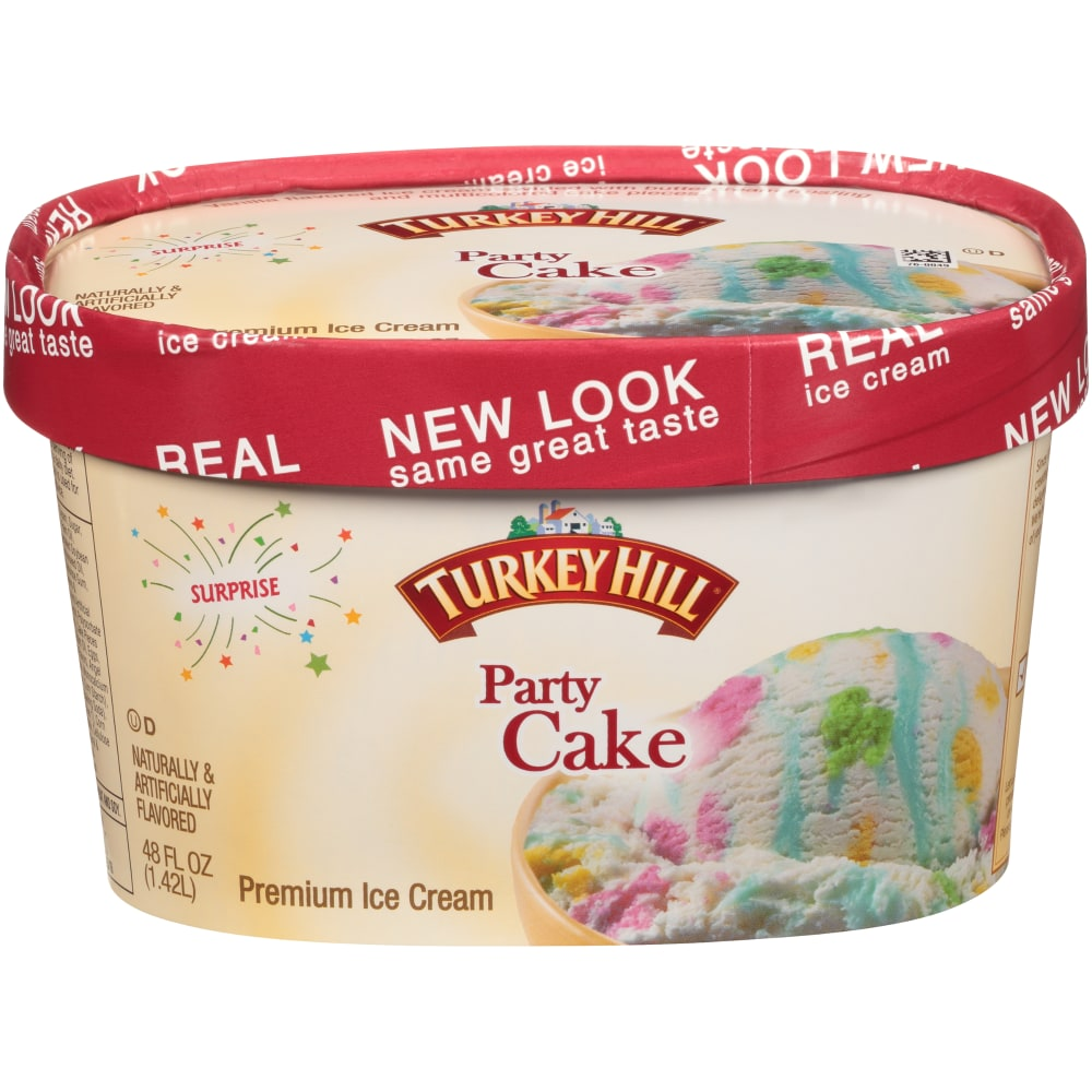 turkey hill party cake premium ice cream perspective front