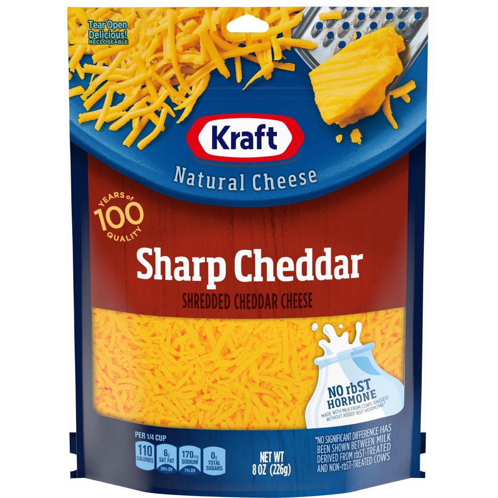 Kraft Shredded Sharp Cheddar Cheese Perspective Front