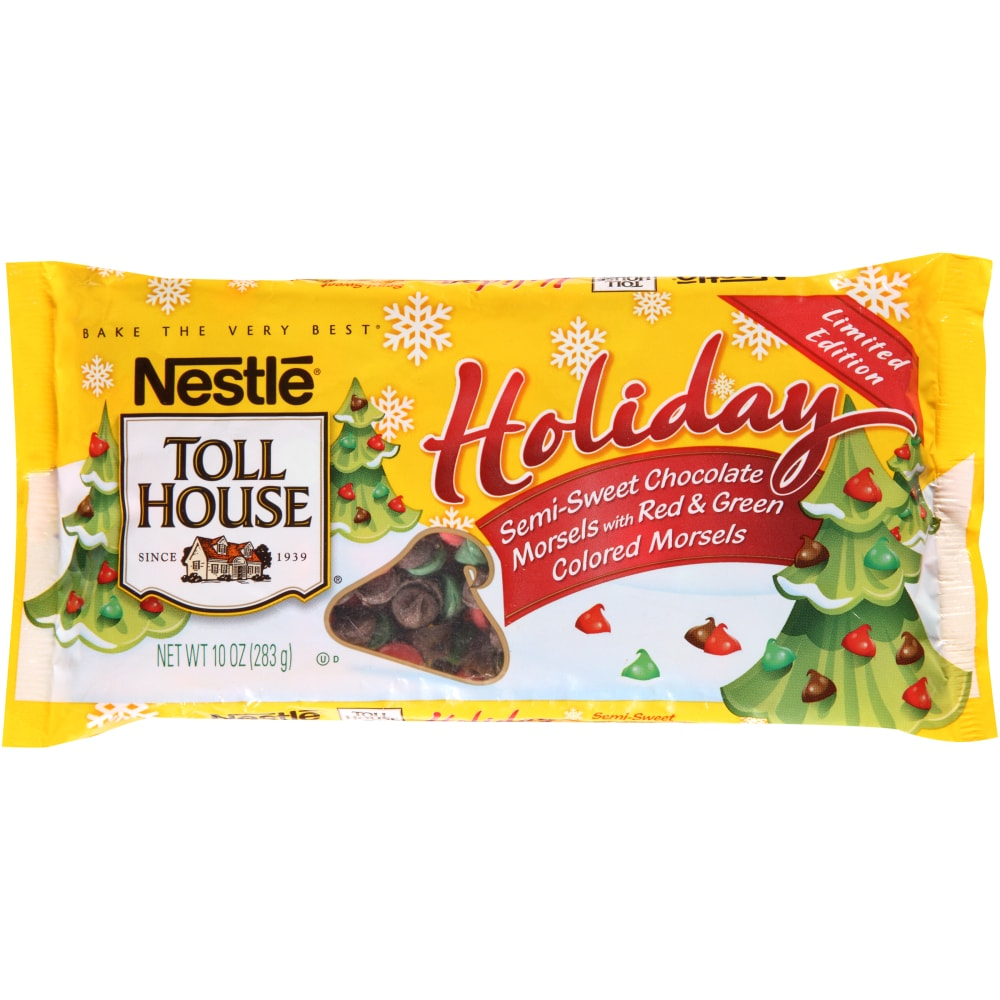 nestle toll house holiday semi sweet chocolate morsels with red green colored morsels perspective - Fred Meyer Christmas Trees