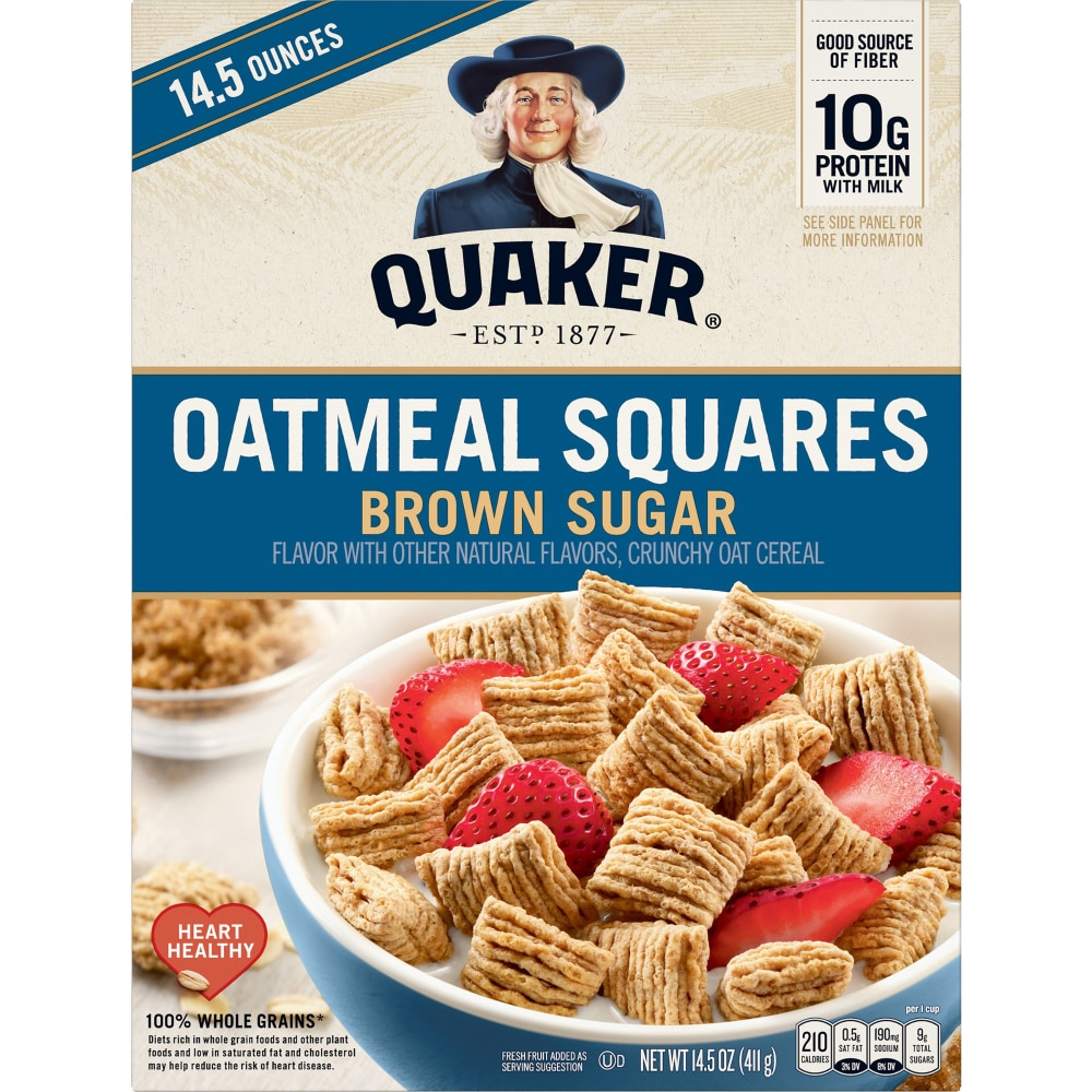Quaker Brown Sugar Oatmeal Squares Cereal 14 5 Oz