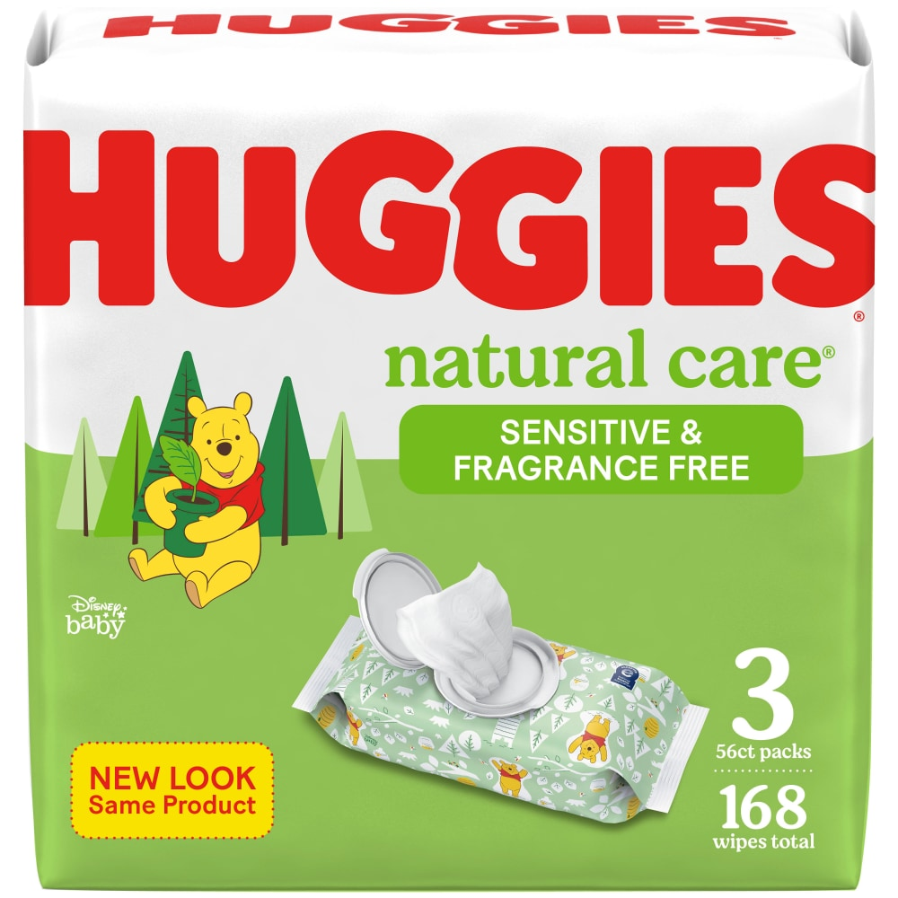 Total 3 Packs of 56 Sheets Each; 168ct Huggies Natural Care Fragrance Free Soft Pack Wipes