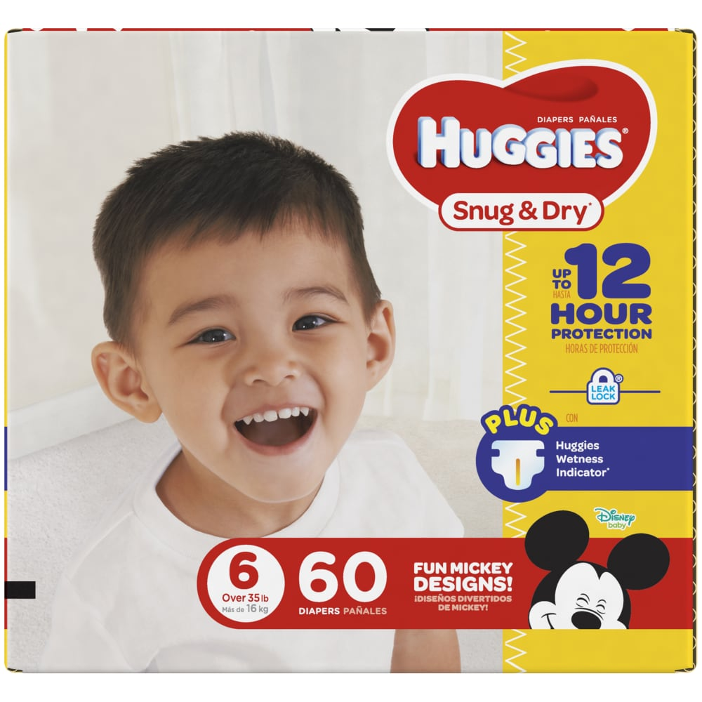 35+ lb. JUMBO PACK Packaging M 18 Ct. Size 6 HUGGIES LITTLE MOVERS Diapers