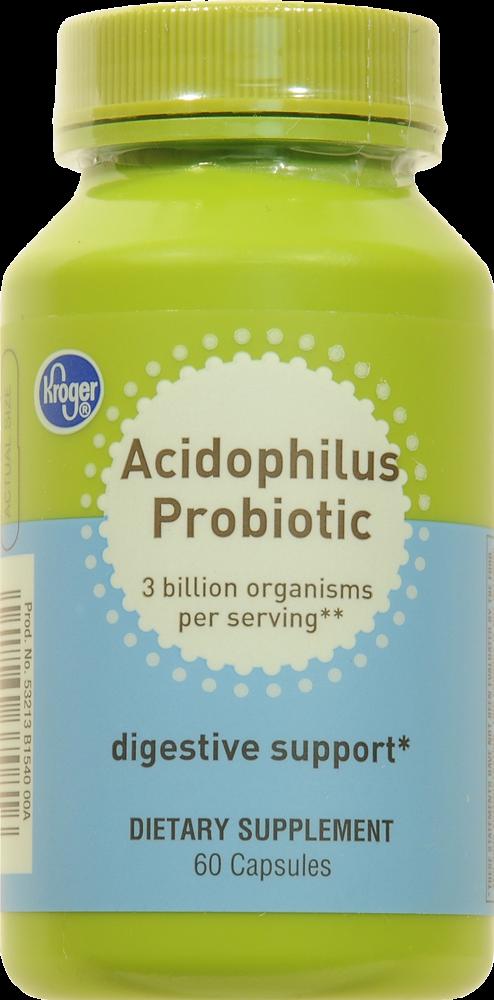 Kroger Acidophilus Probiotic Digestive Support Capsules Perspective Front