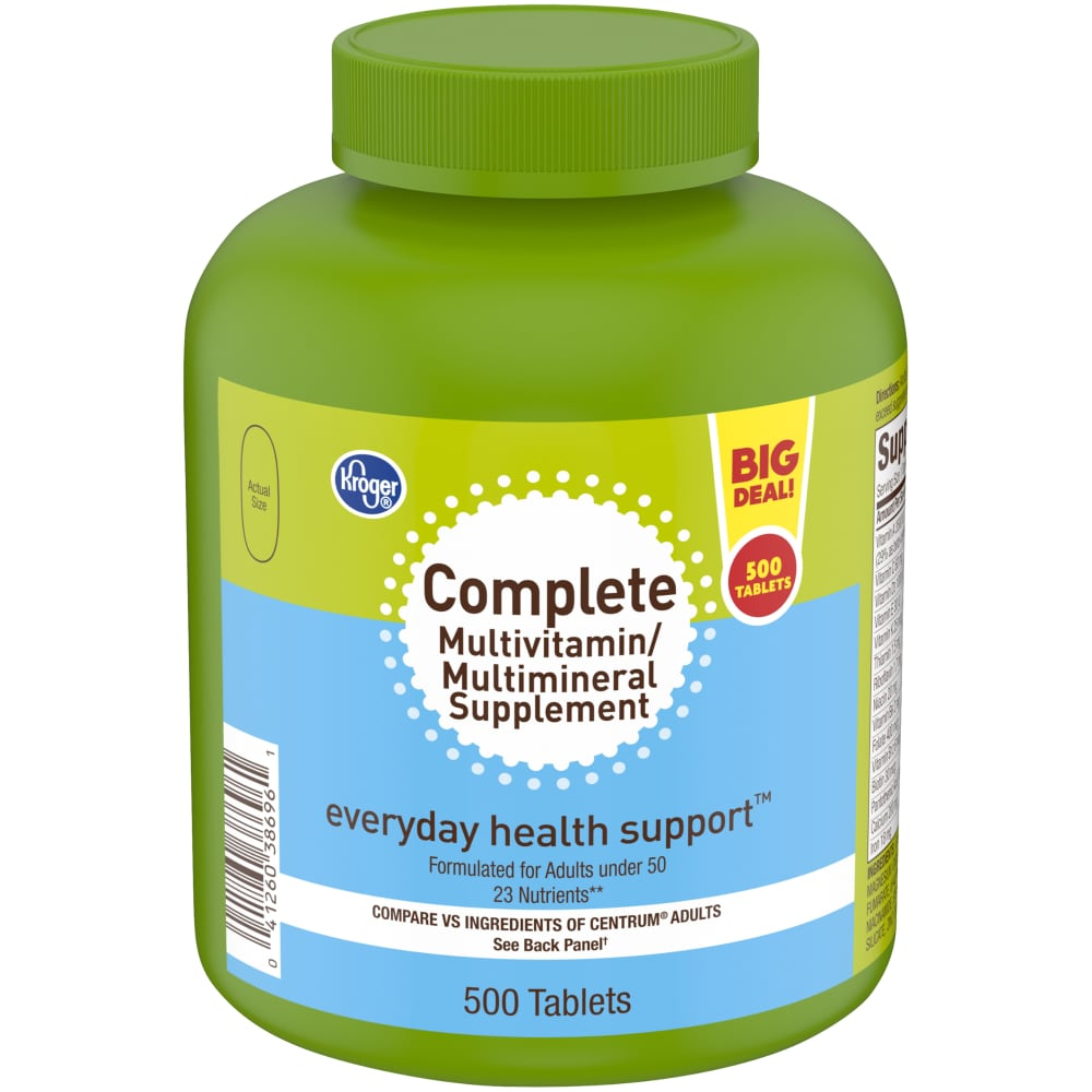 Mariano S Kroger Complete Multivitamin Multimineral Supplement Tablets Bottle 500 Ct