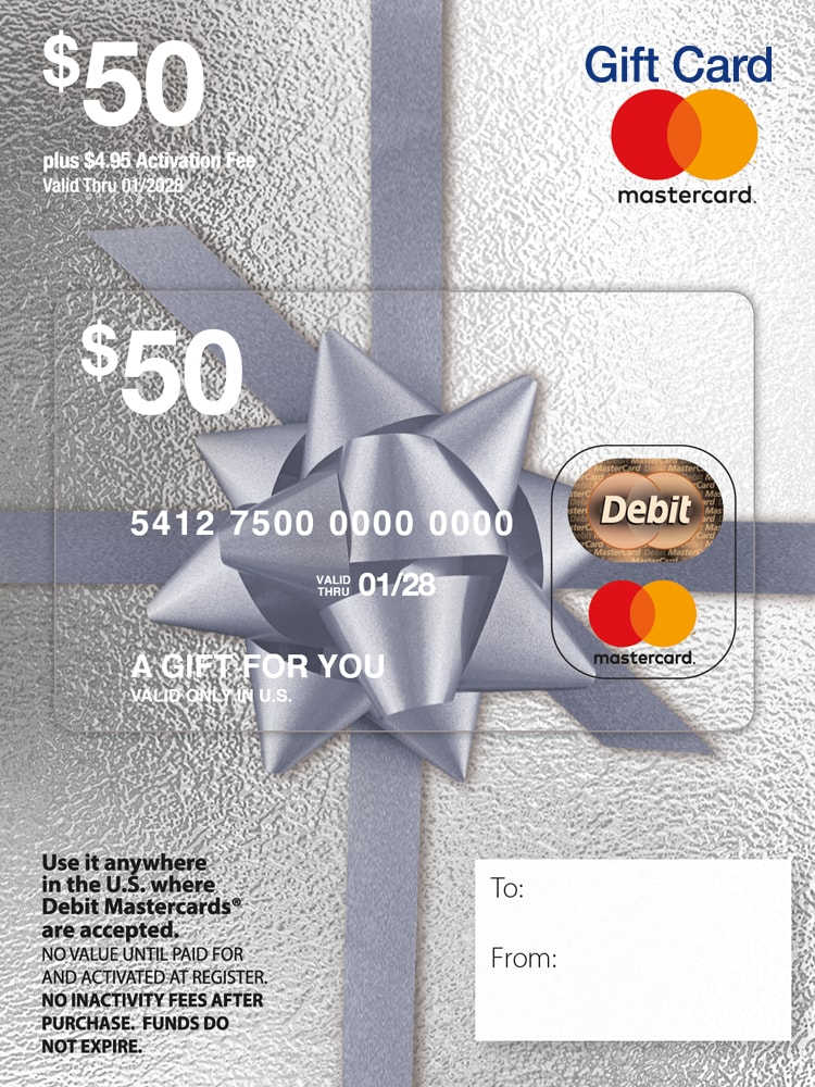 plus $4.95 Purchase Fee $50 Mastercard Gift Card