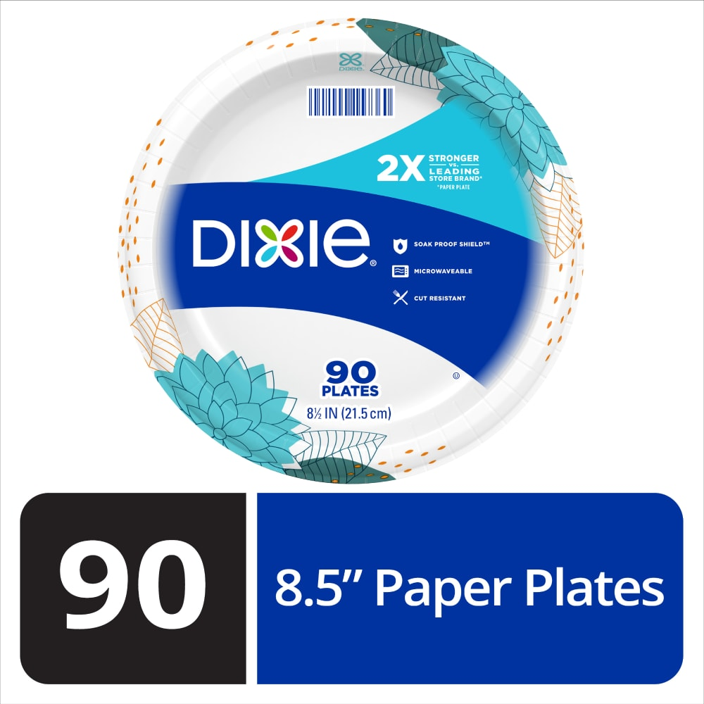 Dixie Everyday Disposable Printed Paper Plates 8 1 2 Inch Perspective Front