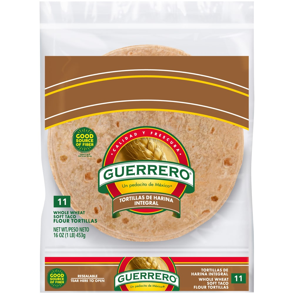 Guerrero 100 Whole Wheat Soft Taco Flour Tortillas 11 Count 16 Oz Food 4 Less