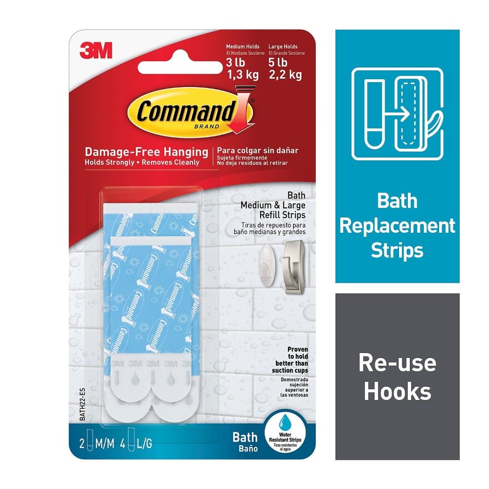 3M Command Water Resistant Strips Hook Damage-free Hanging Bathroom Waterproof