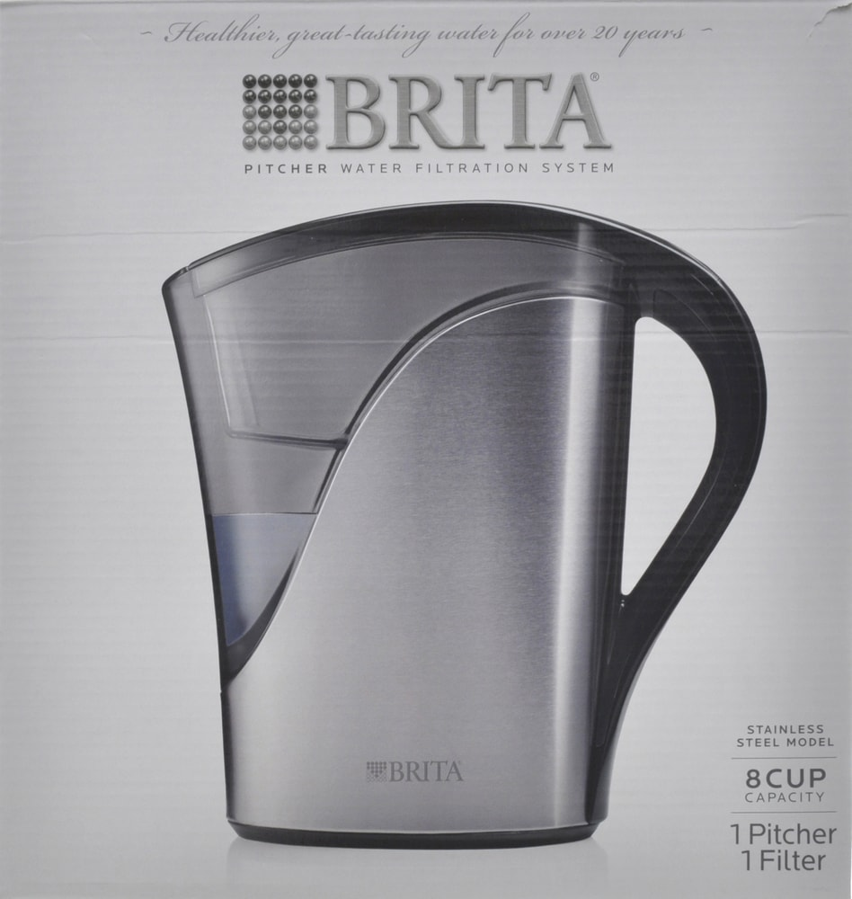 brita water filter pitcher. Plain Water Brita Stainless Steel 8Cup Water Filter Pitcher Perspective Front In