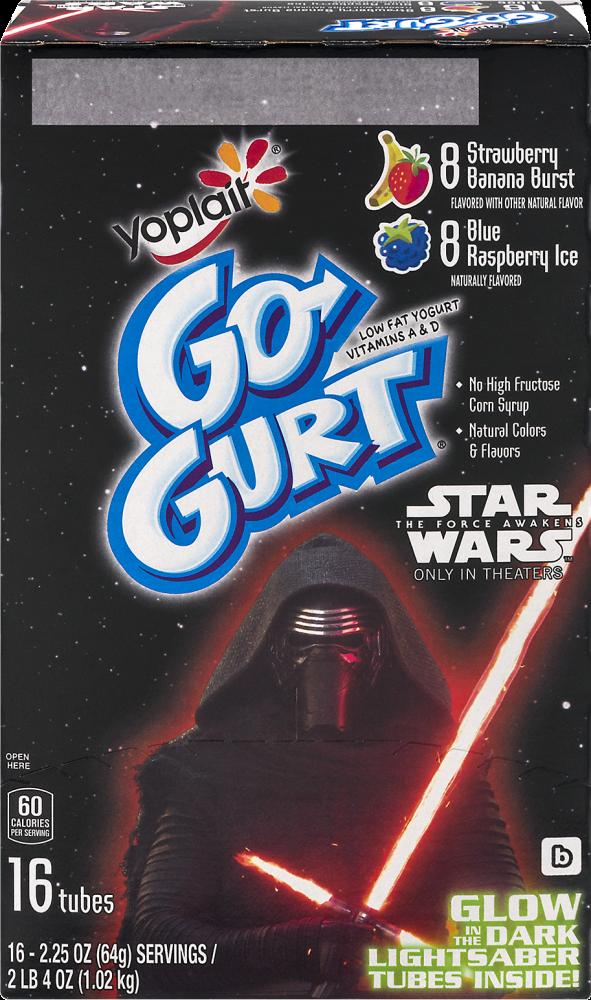 Yoplait Go-Gurt Strawberry Banana Burst & Blue Raspberry Ice Yogurt Tubes